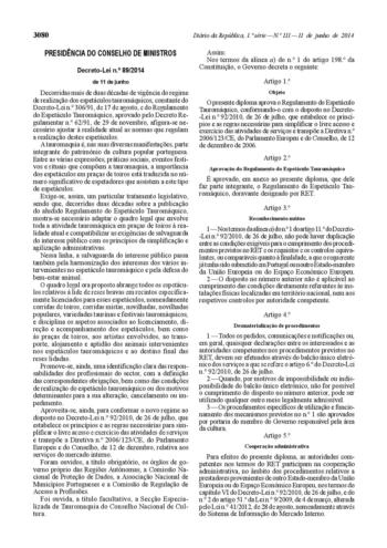Novo Regulamento taurino já está publicado em diário da República