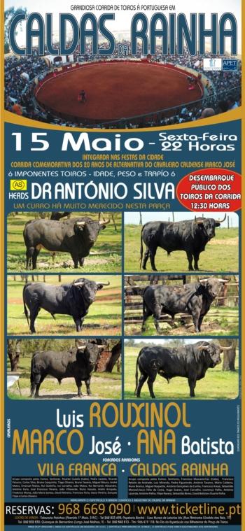 Imponentes Toiros Herds António Silva a 15 de Maio nas Caldas da Rainha