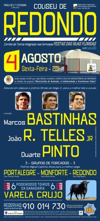 Cartaz da Corrida do Coliseu de Redondo a 4 de Agosto