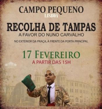 Recolha de tampas e venda de t-shirts e pulseiras a favor do Nuno Carvalho