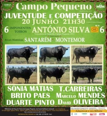 BI dos toiros António Silva para a corrida desta noite, no Campo Pequeno