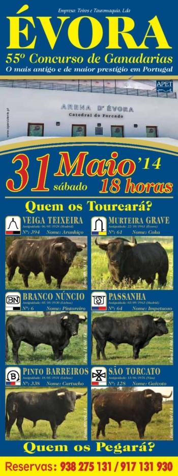 55ª Corrida Concurso de Ganadarias - Évora - 31 de Maio