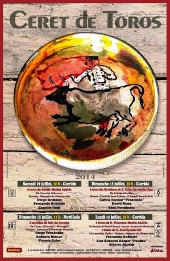 O cartaz dos novilhos Vale do Sorraia que serão lidados em Céret (França)