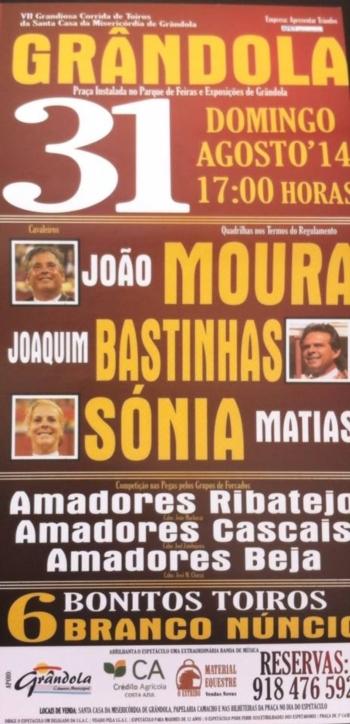 Dia 31 Agosto corrida de toiros em Grândola