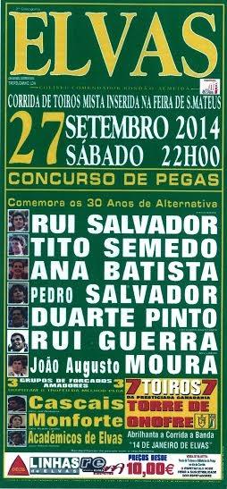 Corrida de toiros mista em Elvas a 27 de Setembro