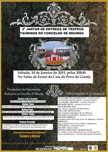 Cartaz-2º jantar de entrega de troféus taurinos do concelho de Mourão