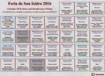 Os cartéis oficiais de San Isidro 2016