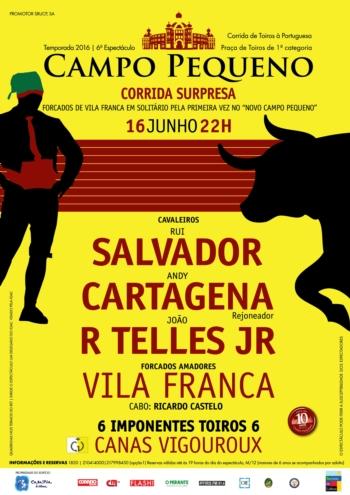 O cartel da corrida surpresa - Campo Pequeno - 50% desconto para forcados