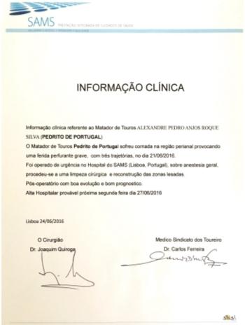 PEDRITO DE PORTUGAL internado até dia 27