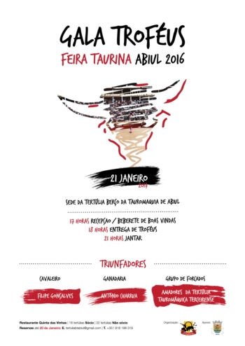 Cartaz da entrega dos troféus da Feira Taurina de Abiul 2016
